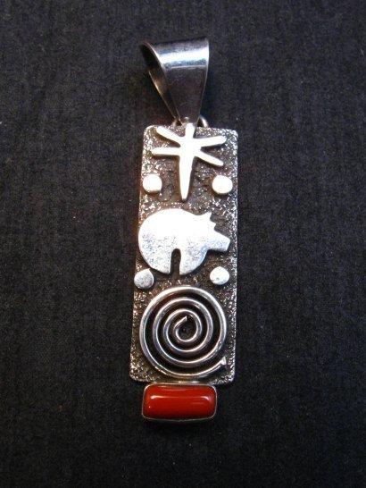 Image 0 of Navajo Alex Sanchez Petroglyph Coral Silver Pendant