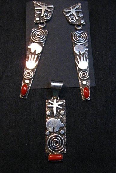Image 5 of Navajo Alex Sanchez Petroglyph Coral Silver Pendant