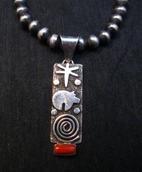 Image 4 of Navajo Alex Sanchez Petroglyph Coral Silver Pendant
