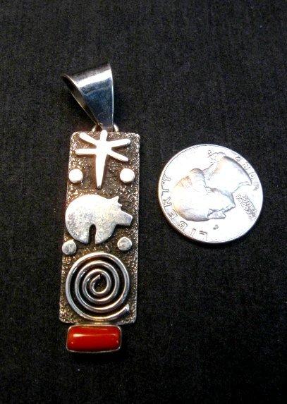 Image 3 of Navajo Alex Sanchez Petroglyph Coral Silver Pendant