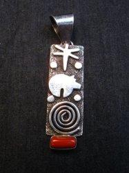 Navajo Alex Sanchez Petroglyph Coral Silver Pendant