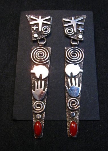 Image 0 of Extra long Navajo Alex Sanchez Petroglyph Coral Silver Earrings