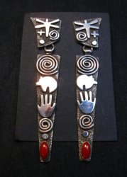 Extra long Navajo Alex Sanchez Petroglyph Coral Silver Earrings