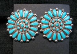 Round Zuni Sleeping Beauty Turquoise Cluster Earrings