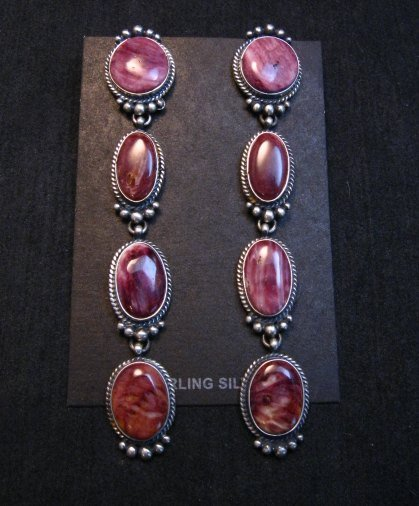 Image 0 of Super Long Native American Navajo Spiny Oyster Earrings, Donovan Cadman