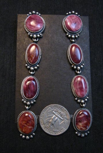 Image 2 of Super Long Native American Navajo Spiny Oyster Earrings, Donovan Cadman
