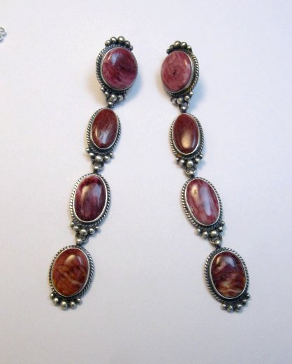 Image 1 of Super Long Native American Navajo Spiny Oyster Earrings, Donovan Cadman