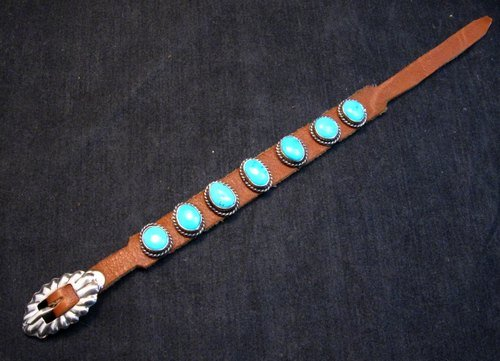 Image 0 of Navajo Turquoise Sterling Silver Leather Bracelet, Jimmy Emerson, Custom Fit