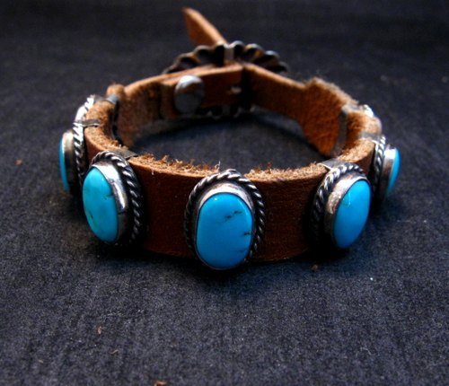Image 1 of Navajo Turquoise Sterling Silver Leather Bracelet, Jimmy Emerson, Custom Fit