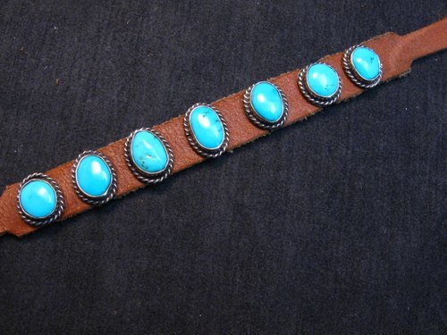 Image 3 of Navajo Turquoise Sterling Silver Leather Bracelet, Jimmy Emerson, Custom Fit
