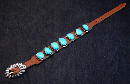Image 0 of Navajo Native American Turquoise Sterling Silver Leather Bracelet Jimmy Emerson