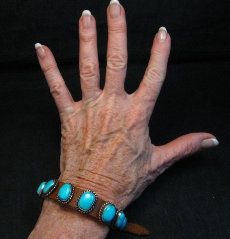 Image 1 of Navajo Native American Turquoise Sterling Silver Leather Bracelet Jimmy Emerson