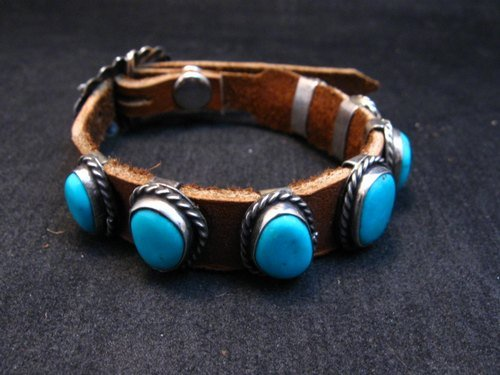Image 2 of Navajo Native American Turquoise Sterling Silver Leather Bracelet Jimmy Emerson
