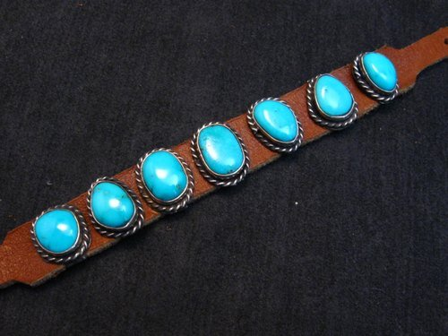 Image 3 of Navajo Native American Turquoise Sterling Silver Leather Bracelet Jimmy Emerson
