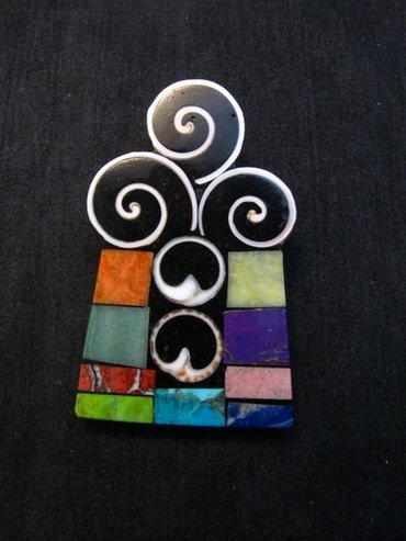 Image 0 of Abstract Santo Domingo Mosaic Inlay Pin/Pendant, Mary Tafoya