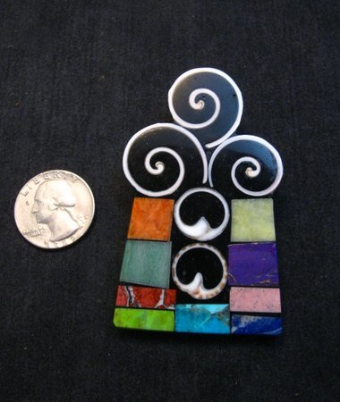 Image 1 of Abstract Santo Domingo Mosaic Inlay Pin/Pendant, Mary Tafoya
