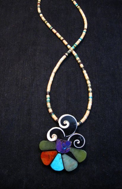 Image 1 of Unique Mary Tafoya Kewa Pueblo Multi-Stone Mosaic Inlay Necklace