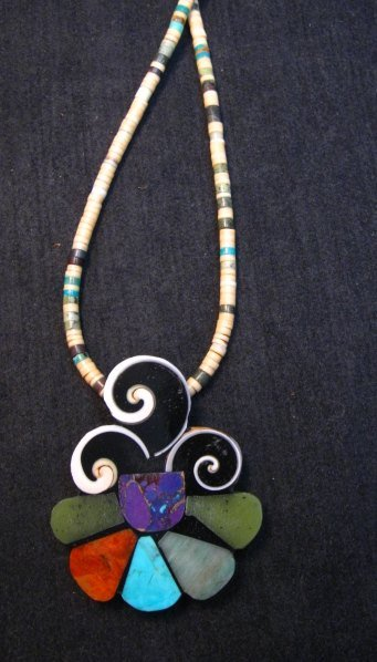Image 4 of Unique Mary Tafoya Kewa Pueblo Multi-Stone Mosaic Inlay Necklace