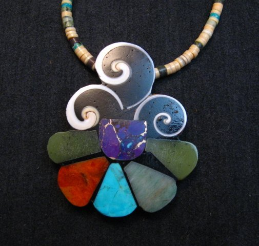 Image 0 of Unique Mary Tafoya Kewa Pueblo Multi-Stone Mosaic Inlay Necklace