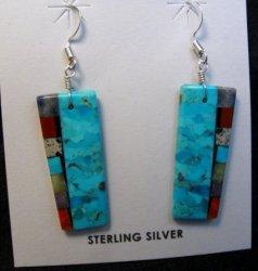 Turquoise 2-sided Multi-colored Inlaid Earrings, Mary Tafoya, Santo Domingo