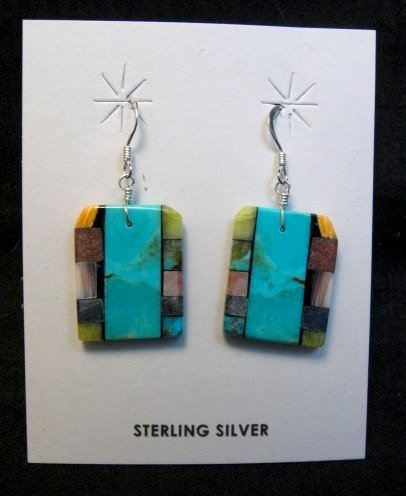 Image 0 of Santo Domingo Kewa Turquoise Double-sided Inlay Earrings, Mary Tafoya
