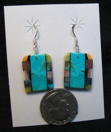 Image 3 of Santo Domingo Kewa Turquoise Double-sided Inlay Earrings, Mary Tafoya