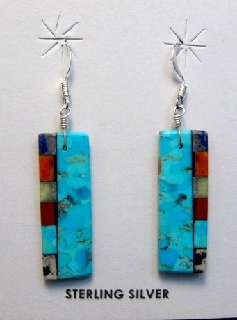 Image 0 of Turquoise Reversible Inlaid Earrings, Mary Tafoya, Santo Domingo