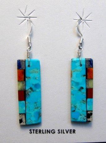 Image 0 of Santo Domingo Turquoise 2-sided Multi-colored Inlaid Earrings, Mary Tafoya