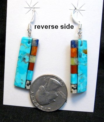 Image 1 of Santo Domingo Turquoise 2-sided Multi-colored Inlaid Earrings, Mary Tafoya