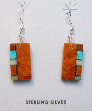 Image 0 of Santo Domingo Kewa Apple Coral Inlay Earrings, Mary Tafoya