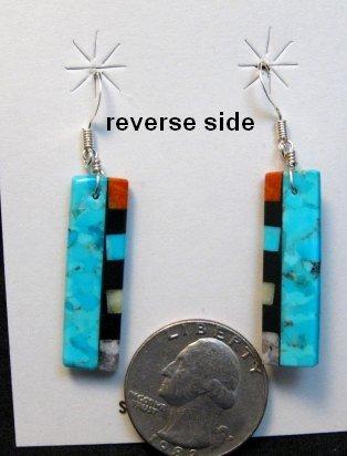 Image 1 of Turquoise Reversible Multistone Inlaid Earrings, Mary Tafoya, Santo Domingo