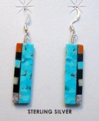 Turquoise Reversible Multistone Inlaid Earrings, Mary Tafoya, Santo Domingo