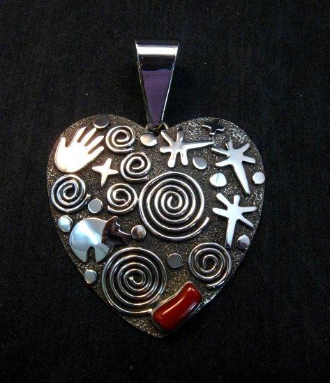 Image 0 of Alex Sanchez Coral Petroglyph Heart Pendant Large Navajo Sterling Silver