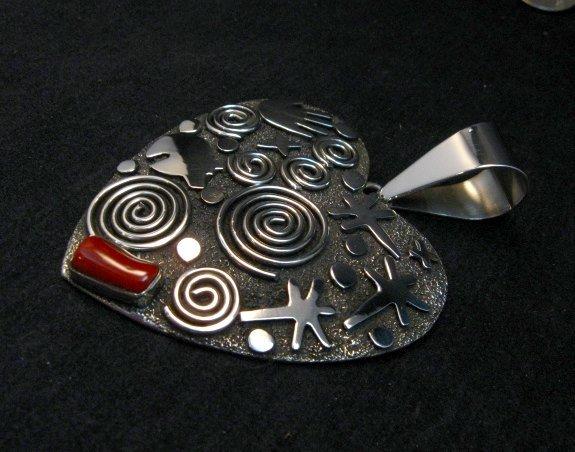 Image 2 of Alex Sanchez Coral Petroglyph Heart Pendant Large Navajo Sterling Silver