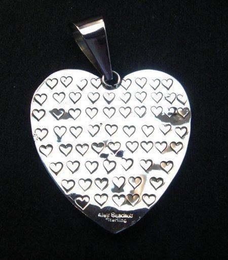 Image 3 of Alex Sanchez Coral Petroglyph Heart Pendant Large Navajo Sterling Silver