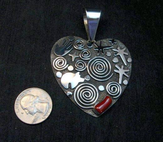Image 1 of Alex Sanchez Coral Petroglyph Heart Pendant Large Navajo Sterling Silver