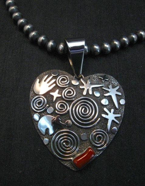 Image 4 of Alex Sanchez Coral Petroglyph Heart Pendant Large Navajo Sterling Silver