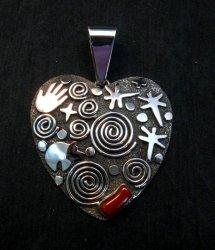 Alex Sanchez Coral Petroglyph Heart Pendant Large Navajo Sterling Silver