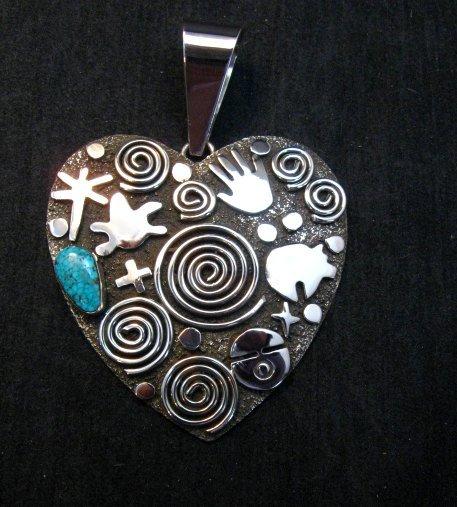 Image 0 of Alex Sanchez Turquoise Heart Pendant, Navajo, Petroglyph