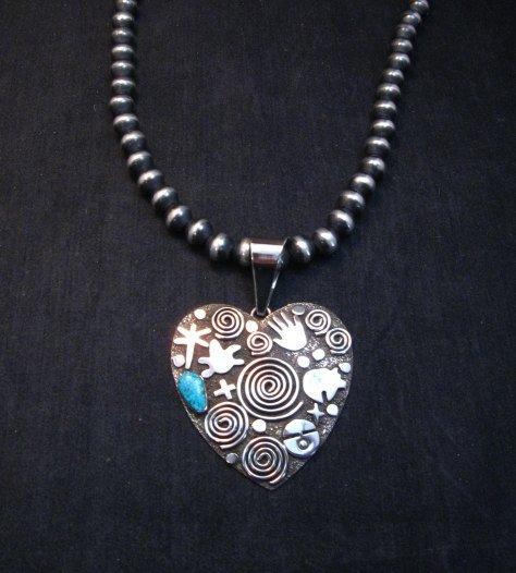 Image 1 of Alex Sanchez Turquoise Heart Pendant, Navajo, Petroglyph