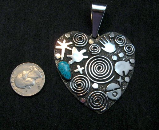 Image 2 of Alex Sanchez Turquoise Heart Pendant, Navajo, Petroglyph