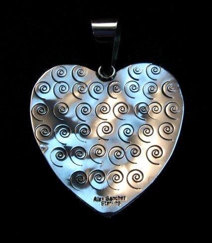 Image 3 of Alex Sanchez Turquoise Heart Pendant, Navajo, Petroglyph