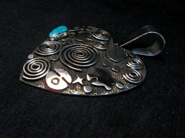 Image 4 of Alex Sanchez Turquoise Heart Pendant, Navajo, Petroglyph