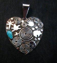 Alex Sanchez Turquoise Heart Pendant, Navajo, Petroglyph