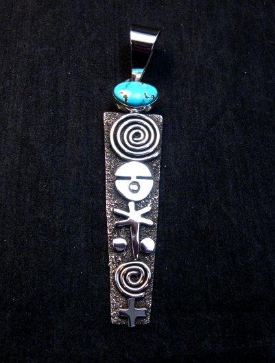 Image 0 of Long Navajo Alex Sanchez Petroglyph Turquoise Silver Pendant