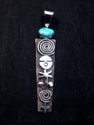 Long Navajo Alex Sanchez Petroglyph Turquoise Silver Pendant