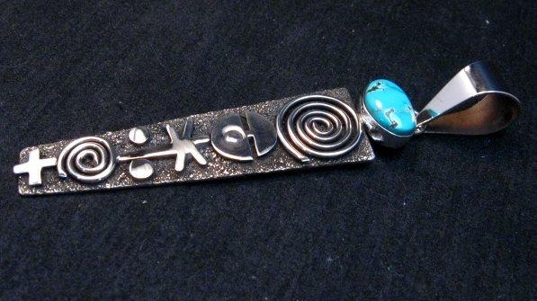 Image 1 of Long Navajo Alex Sanchez Petroglyph Turquoise Silver Pendant