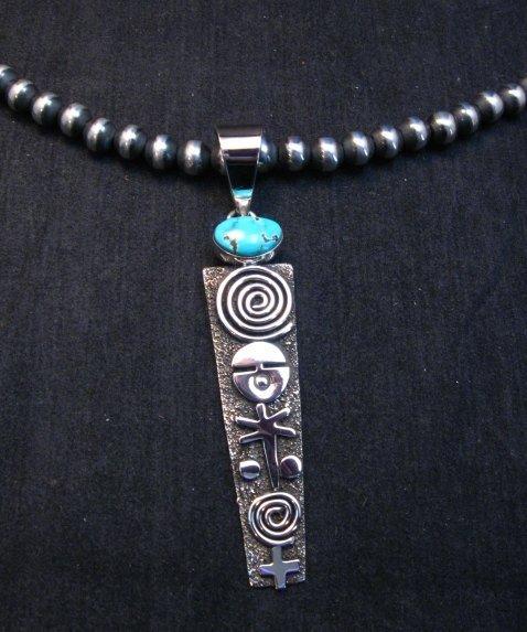 Image 2 of Long Navajo Alex Sanchez Petroglyph Turquoise Silver Pendant