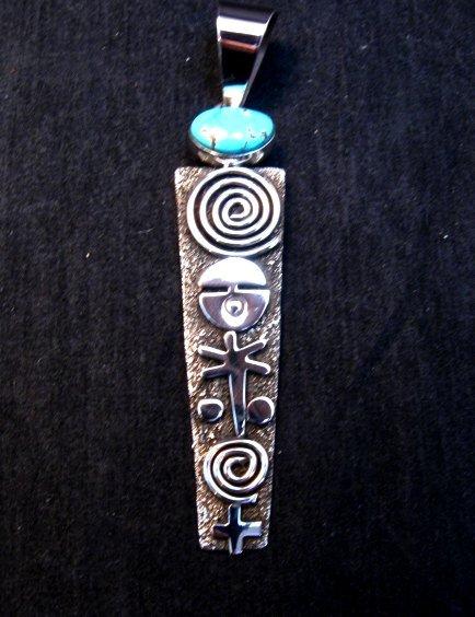 Image 4 of Long Navajo Alex Sanchez Petroglyph Turquoise Silver Pendant