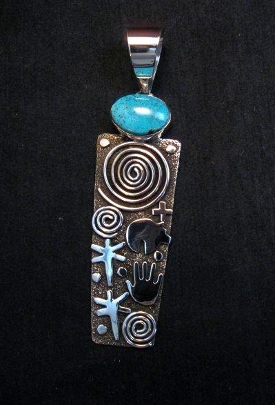Image 4 of Native American Navajo Alex Sanchez Pendant Petroglyph Turquoise Silver